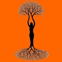 illustration with  tree silhouette of woman